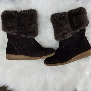 Lands End Brown Suede Boot With Faux fur size 8